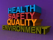 Health safety quality and environment. An illustration of the words health, safety, quality and environment in 3D letters Royalty Free Stock Images