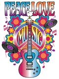 Peace-Love-Music Retro Design. Illustration of the words, Peace, Love and Music with a heart-shaped guitar, dove, peace symbol, vinyl records, musical notes and stock illustration