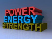 Power Energy Strength. An illustration of the words 'power', 'energy' and 'strength Royalty Free Stock Photo