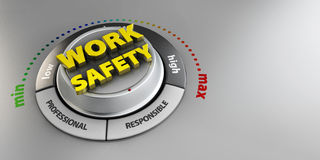 Illustration of Work Safety knob button switch. High confidence level concept. Technical design, management modern. Stock Photography