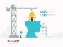 Illustration workers establish lightbulb in head by using a crane. Vector Illustration stock illustration