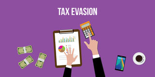 Illustration of working to count tax evasion with calculator and paperworks on top of table Royalty Free Stock Photo