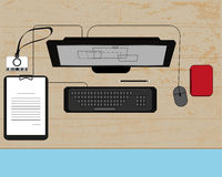 Illustration of workplace in office Royalty Free Stock Photo