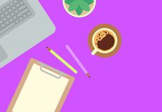Flat lay style workspace illustration royalty free illustration