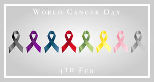 Illustration of world cancer day with ribbons Stock Photo