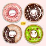 The Illustration of the World of Children's Imagination: Talking Doughnuts. Stock Photos