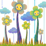 The Illustration of the World of Children's Imagination: Tall Flowers. Stock Photo
