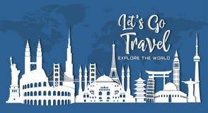 World famous landmark in paper style stock illustration