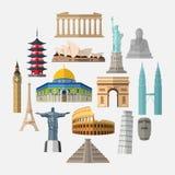 World famous landmarks icon set royalty free illustration