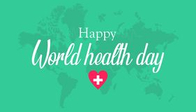 Happy world health day greeting card, with green color royalty free illustration
