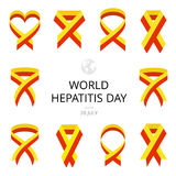 Illustration of World Hepatitis Day on white background. Ribbons. Image for your design projects Royalty Free Stock Images
