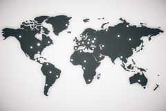 Illustration world map with capitals Royalty Free Stock Images