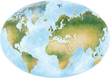 Illustration world map and the continents of planet earth Stock Photo