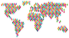 Colorful people world map stock illustration