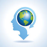 Illustration of world map in human head,  Stock Photography