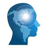 World map in human head, vector Stock Photos