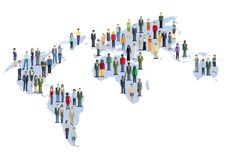 World map with multicultural population royalty free illustration