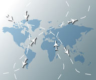 Illustration of world map with planes Royalty Free Stock Images