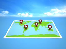 Illustration world map and sky Royalty Free Stock Photo