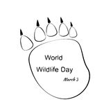 Illustration of World Wildlife Day with Animal Footprint. Black and White  Illustration of World Wildlife Day with Animal Footprint Stock Image