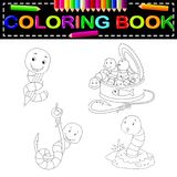 Worm coloring book. Illustration of worm coloring book Stock Photography