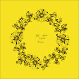 Illustration of wreath with bees and flowers. Vector Illustration of wreath with bees and flowers on yellow background Royalty Free Stock Photos
