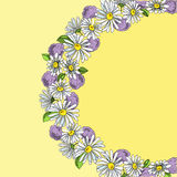 Illustration wreath of daisies and hydrangeas, hand drawn. Royalty Free Stock Image