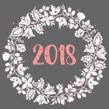 2018  illustration with wreath Stock Image