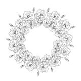 Illustration with a wreath of flowers, black and white. Royalty Free Stock Images