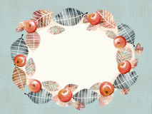 Illustration of a wreath-frame made of leaves and juicy apples. royalty free stock photography