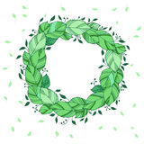 Illustration wreath of green leaves Stock Image