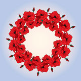 Illustration wreath with poppies against the sky. Royalty Free Stock Photography