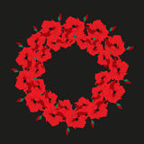 Illustration wreath of poppies on a dark background. Stock Images