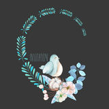 Illustration, wreath with watercolor cute bird, blue plants, flowers and cotton flower, hand drawn isolated on a dark background Stock Photo