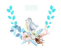 Illustration, wreath with watercolor cute bird, blue plants, flowers and cotton flower Stock Images