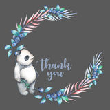 Illustration, wreath with watercolor panda, blueberry and plants Stock Image