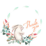 Illustration, wreath with watercolor rabbit, green branches and red berries Royalty Free Stock Image