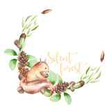 Illustration, wreath with watercolor squirrel, fir cones, oak acorns and green branches Royalty Free Stock Photography