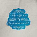 Illustration of wrinkled textured paper with engraving scratched quote label.  Royalty Free Stock Photo