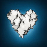 Illustration of a wrinkly heart. On a dark blue background Stock Photos