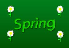 Illustration, write spring with daisy flowers in a green backgro Stock Photos