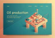Illustration is Written Oil Production Isometric. royalty free illustration
