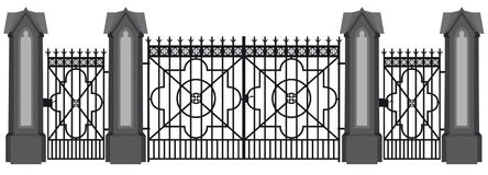 A illustration of a wrought iron gate.  Stock Image