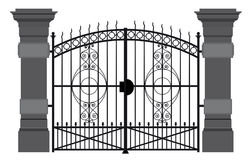 A illustration of a wrought iron gate.  stock illustration