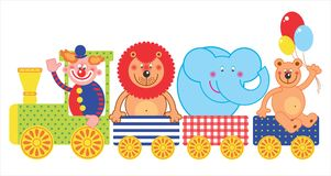 Circus train. Illustration wuth circus train, animals and clown Royalty Free Stock Image