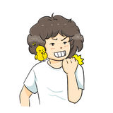 The  illustration & x22;Boy curly hair Vector& x22; Royalty Free Stock Image