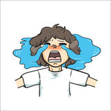 The  illustration & x22;Boy curly hair Vector& x22; Stock Image