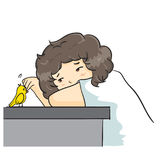The  illustration & x22;Boy curly hair Vector& x22; Stock Photo