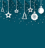 Illustration Xmas background with fir, balls Royalty Free Stock Photo
