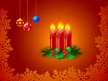 Illustration of Xmas candles. Illustration of red burning Christmas candles Stock Photo